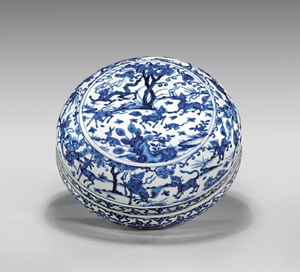 Ming dynasty Wanli blue and white box with Wanli mark and of the period, 10 3/4 inches diameter. Estimate: $50,000-$60,000. I.M. Chait Gallery / Auctioneers image.