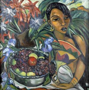 Lot 44 - Irma Stern, 'Still life with African Woman in Zanzibar. Bonhams image.