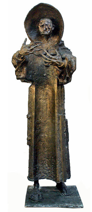 Modern bronze sculpture by Pablo Serrano depicting Spanish missionary Fray Junipero Serra Ferrer. The Spanish government commissioned the monumental work, which was prominently displayed it at its pavilion at the New York World's Fair of 1964-64. Roland Auctions NY image.