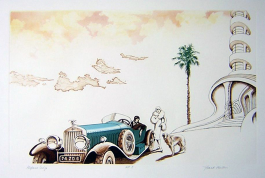 Hispano Suiza, a color etching by Frank Martin for the iconic luxury carmaker. Price: £895. Photo: Candice Horley
