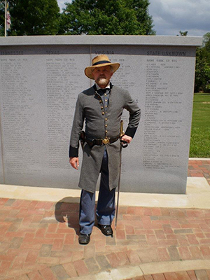 Greg Griffin, a local attorney, portraying Gen. Andrew Jackson Hansell, leads a walking tour at the memorial in Marietta. Griffin resides in Gen. Hansell's house known as Tranquilla. Image courtesy of Keep Marietta Beautiful.