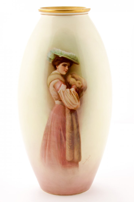 Hans Nosek (Bohemian, 1876-1966), monumental porcelain vase with hand-painted portrait of the artist's wife, 18in high, signed and dated 1907, Willets Belleek of Trenton, N.J. Ex collection of The Silver Shop, Princeton, N.J. Est. $4,000-$6,000. Material Culture image