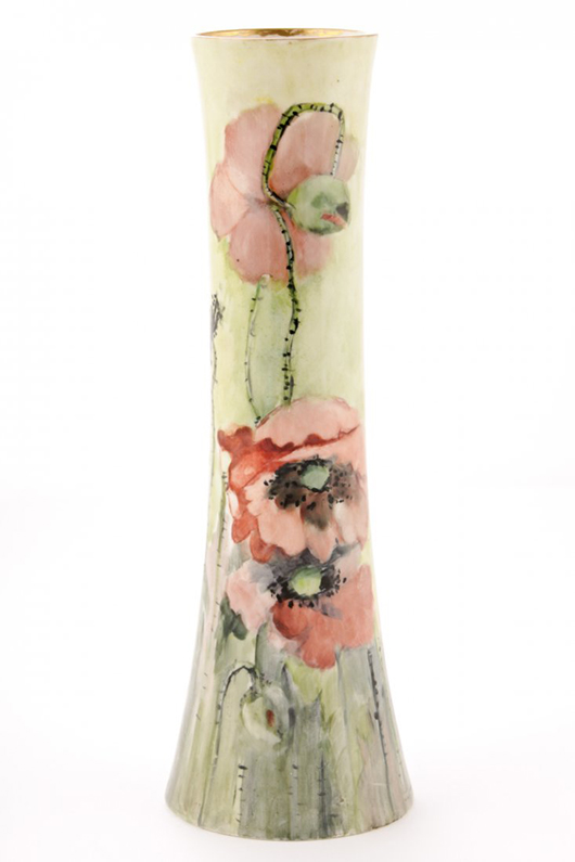 Willets Belleek, Trenton, N.J., flared column vase with hand-painted poppies, circa 1900, unsigned, 12in high. Ex collection of The Silver Shop, Princeton, N.J. Est. $500-$1,000. Material Culture image