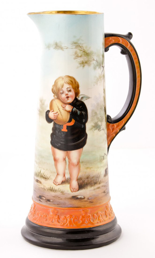 Circa-1893 hand-painted Princeton Football tankard made by Ceramic Art Co./Lenox, Trenton, N.J. Ex collection of The Silver Shop, Princeton, N.J. Est. $3,000-$5,000. Material Culture image