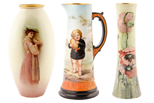 This impressive lineup shows the diversity and exceptional quality of wares produced by Trenton, N.J.,  ceramics and porcelain companies of the late 19th century. All ex collection of The Silver Shop, Princeton, N.J., and to be auctioned by Material Culture of Philadelphia. Material Culture image