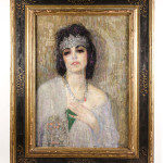 Signed oil on wood panel by the Armenian-American artist Hovsep Pushman (1877-1966), titled 'Sacred Lotus of the Nile.' Estimate: $30,000-$50,000. Ahlers & Ogletree image.