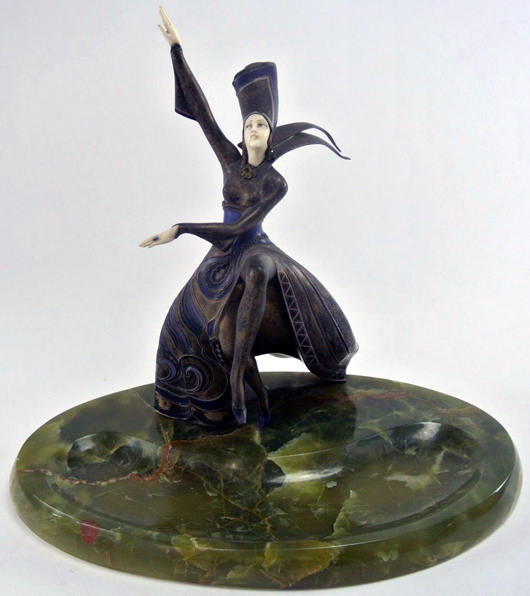 'Futuristic Dancer' by Gerdago (Austrian), enameled and cold-painted bronze on onyx base, one of many Art Deco bronze figures to be auctioned. Est. $10,000-$15,000. Don Presley image