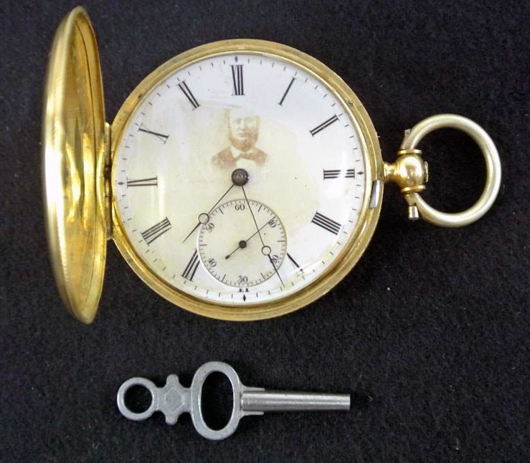 Highlighting the jewelry and timepieces section is an 18K Vacheron Constantin pocket watch, est. $2,500-$3,000. Don Presley image