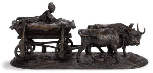 Evgeny Alexandrovich Lanceray (Russian, 1875-1946), bronze of a Ukrainian chumak driving oxen, signed, foundry mark, Ministry of Finance stamp. Est. $14,000-$16,000. Don Presley image