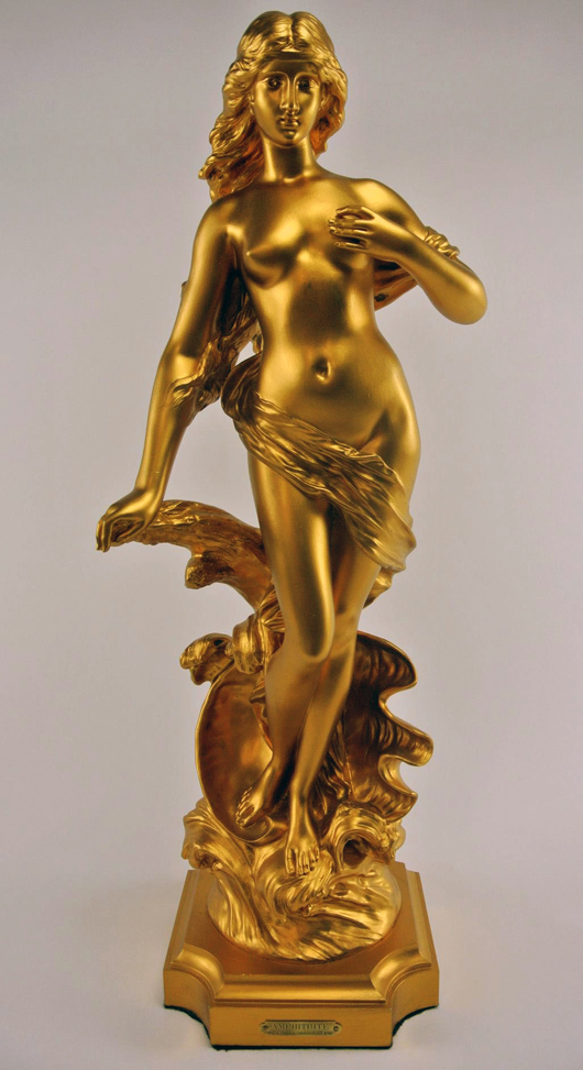 Edouard Drouot (French, 1859-1945), 'Venus on the Waves,' re-gilded in 24K gold, 27in tall, signed, French foundry mark. Est. $3,000-$4,000. Don Presley image