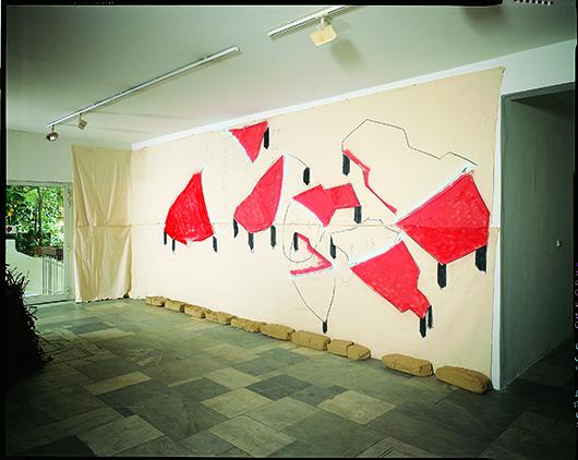 Mario Merz, 'Piume sulle tavole,' 1991 dipinto su tela, neon, argilla, 295 x 780 cm. Courtesy Pace London.