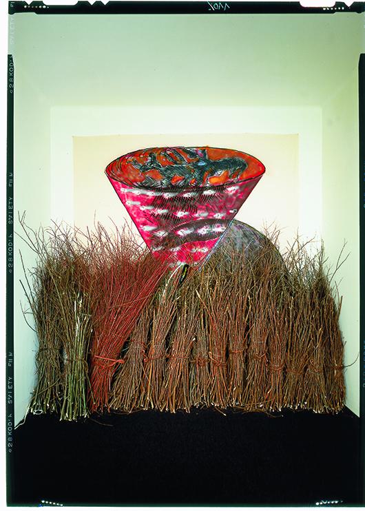 Mario Merz, 'Igloo con vortice,' 1981 tecnica mista su tela, bastoni, bottiglie e tubi al neon, 280 x 270 x 50 cm. Courtesy Pace London.