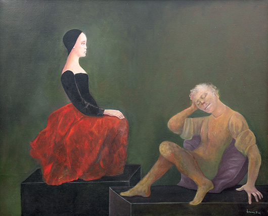 'Dialogue Impossible' by Leonor Fini (French, 1908-1996) achieved an impressive $56,500. Clars image.
