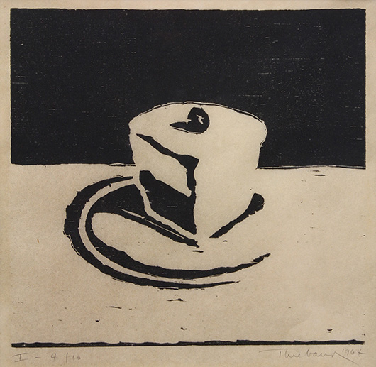 This woodcut print by Wayne Thiebaud (American, b. 1920) titled 'Pie Cut (1964)' achieved $19,000, soaring past its high estimate of $5,000. Clars image.