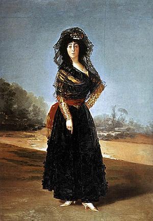 Goya's 'Mourning Portrait of the Duchess of Alba' (1797), alternately known as 'The Black Duchess.' Image courtesy of Wikimedia Commons.