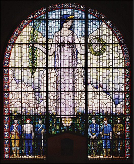 Veterans Memorial Building window designed by Grant Wood. Veterans Memorial Commission, photo courtesy of the Cedar Rapids Museum of Art.