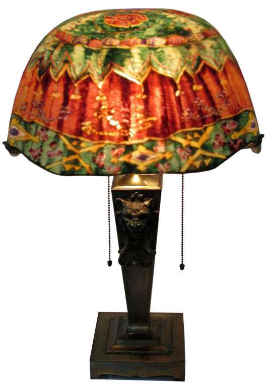 Pairpoint reverse-painted lamp, one of 19 art-glass lamps to be auctioned from the Estate of Elizabeth and Donald Bates. John W. Coker image