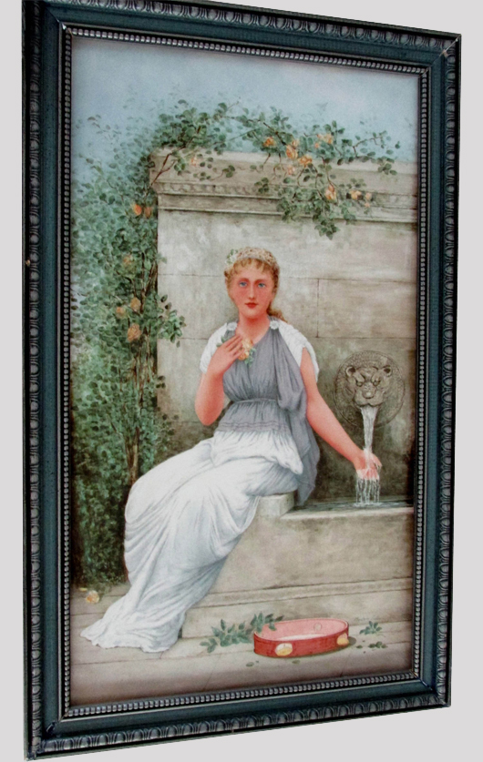 Painting on tile of garden scene, from the Estate of Elizabeth and Donald Bates. John W. Coker image