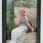Painting on tile of garden scene, from the Estate of Elizabeth and Donald Bates. John W. Coker image