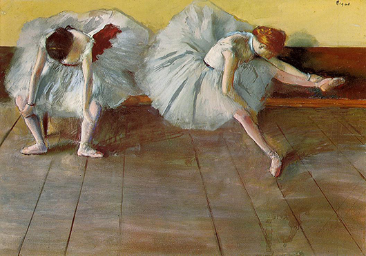 Edgar Degas exhibited a fascination with the ballet in many of his paintings. This 1879 work titled 'Two Ballet Dancers' is in the collection of the Shelburne Museum in Vermont. Image courtesy of Wikiart.