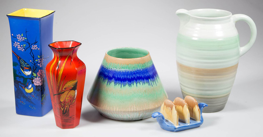 Items from the second part of the 'Lil' and Bud Marchant Shelley collection. This section of the auction also offers the Shelley collection of Lowell Wiggins of Sun City, Ariz., including vases and miniatures. Jeffrey S. Evans & Associates image.