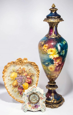 Royal Bonn monumental pedestal vase, painted with irises, from a family collection acquired in the 1920s and 1930s. Jeffrey S. Evans & Associates image.