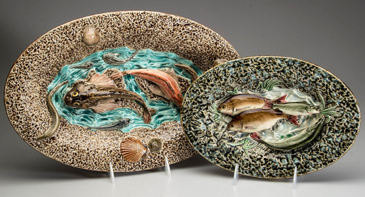 Pallisyware majolica dishes, from a Pennsylvania collection. Jeffrey S. Evans & Associates image.
