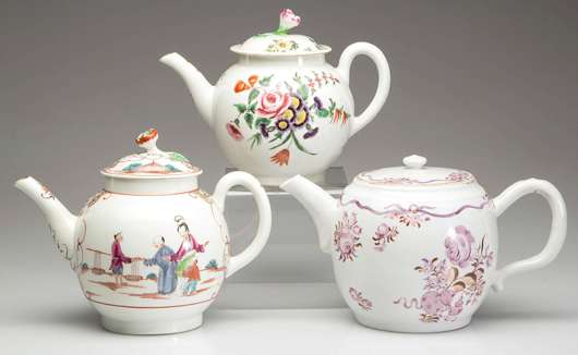 Eighteenth century English teapots from a private collection include these examples, part of the second annual Teapot Extravaganza. Jeffrey S. Evans & Associates image.