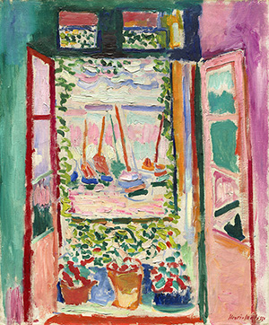 Henri Matisse (French, 1869–1954), 'Open Window, Collioure,' 1905. Oil on canvas; overall: 55.3 x 46 cm (21 3/4 x 18 1/8 in.), framed: 71.1 x 62.2 x 5.1 cm (28 x 24 1/2 x 2 in.). Collection of Mr. and Mrs. John Hay Whitney, 1998.74.7. © 2014 Succession H. Matisse / Artist Rights Society (ARS), New York.