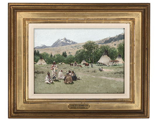 Henry Farny's 'Yarns of a Summer Day' sold for $310,000. Cowan's Auctions Inc. image.