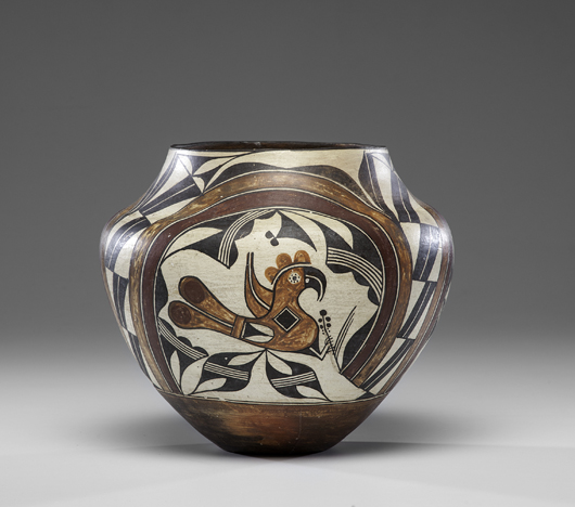 Acoma polychrome olla, price realized: $9,225. Cowan's Auctions Inc. image.