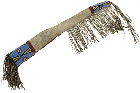 Sioux beaded hide rifle scabbard, price realized: $12,000. Cowan's Auctions Inc. image.