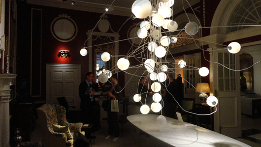A chandelier by Bocci, part of the fantasy lighting display at Mallett's Ely House premises as part of the London Design Festival. Image Auction Central News.