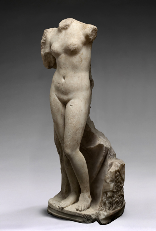 This Roman marble statue of Venus Victrix, first to second century, part of the inaugural exhibition at Charles Ede Ltd. from Oct. 15 to Nov. 14 to celebrate their new premises at Three King's Yard, Mayfair. Image courtesy Charles Ede Ltd.
