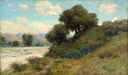This summer landscape by Los Angeles artist William Lees Judson (1842–1928), one of several high quality paintings in the sale realized $3,900, nearly double the high estimate. John Moran Auctioneers image.