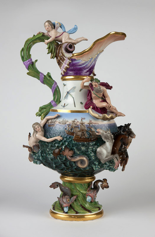 Modeled after 'Water' in J.J. Kandler's 'Four Elements' series, this large Meissen allegorical ewer charmed bidders with its myriad mythological figures, realizing $9,840 (est: $5,000–8,000). John Moran Auctioneers image.