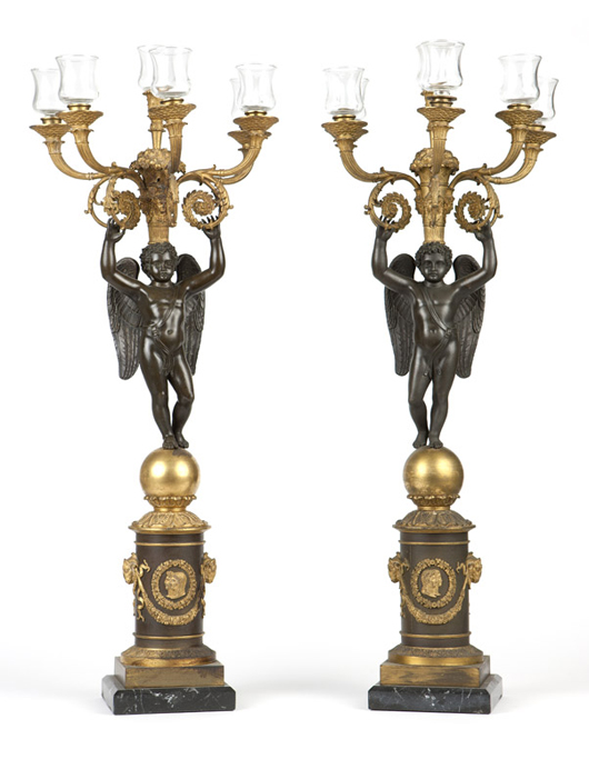 This pair of large Empire-style bronze candelabra demonstrated a strong market for stately pieces of high quality, selling for $5,400 (est: $1,000–2,000). John Moran Auctioneers image.