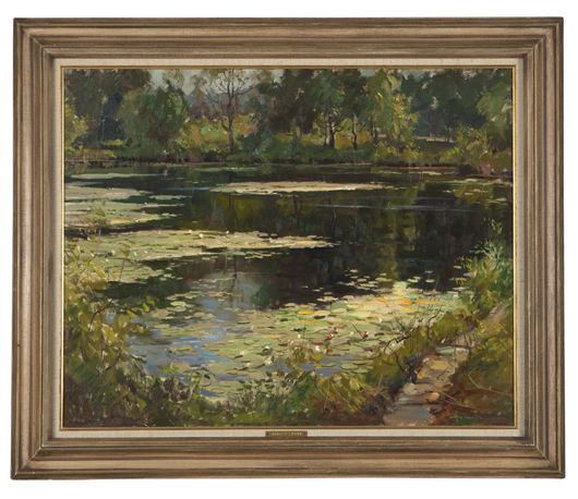 Estimated to bring $1,000–1,500, this lily pond scene by Wayne Beam Morrell (1923–2013 Rockport, Mass.) entranced bidders and eventually sold for $3,000. John Moran Auctioneers image.