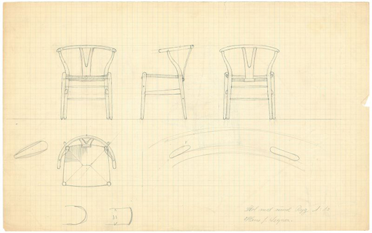 Wegner's design for the Wishbone Chair from 1950. Photo courtesy Design Museum Denmark.