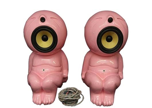 These small 6-inch-high pink Dada Baby speakers are rare bits of technology made in 1996. The seated baby figures are sound speakers that went for $3,277 at an Absolute Auctions online sale. Only 100 were made and half were lost in a fire.