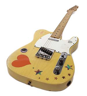 1973 Fender Telecaster guitar stage-played by the immortal blues-rock guitarist Stevie Ray Vaughan (1954-1990), to be auctioned by Profiles in History Oct. 19, 2014. Est. $7,500-$10,000. Image courtesy of LiveAuctioneers and Profiles in History