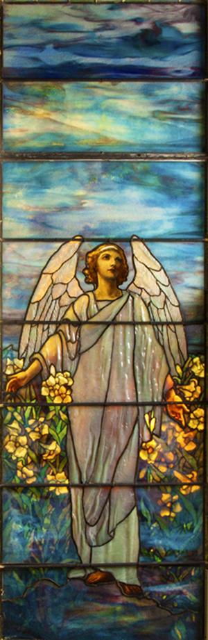 The top lot of the auction, selling at $71,300, was this stunning Tiffany Studios memorial window titled 'Angel of Resurrection.' Cottone Auctions image.