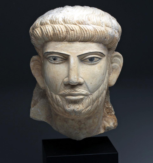 Exceptional Palmyran limestone bust of a prince, Syria, circa 2nd to 3rd centuries AD.  Est. $30,000-$40,000. Artemis Gallery image