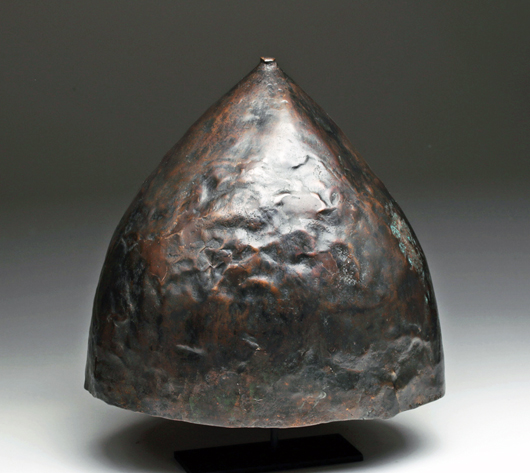 Phoenician bronze helmet, ex-Axel Guttman, early 1st millennium BC.  Est. $12,000-$17,000. Artemis Gallery image