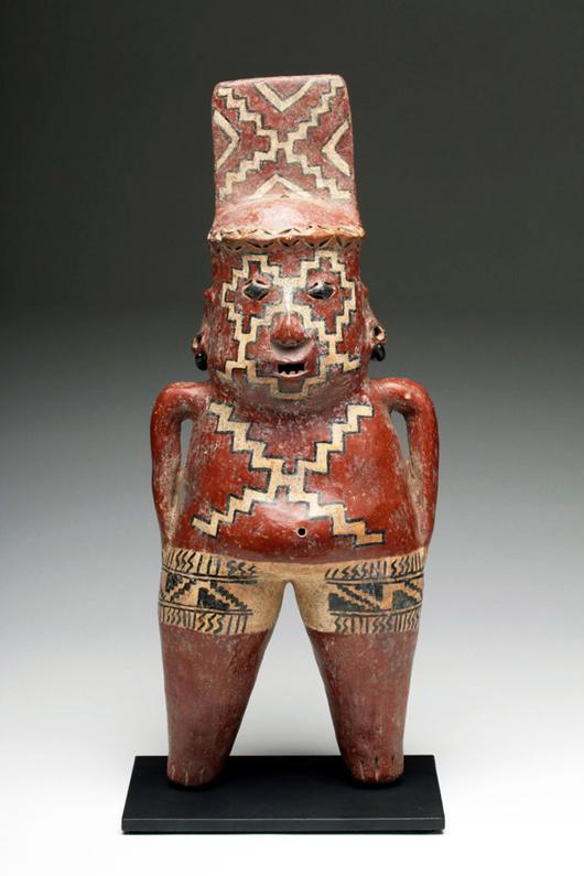 Superb Chupicuaro polychrome figure, circa 300 BC.  Est. $9,000-$12,000. Artemis Gallery image
