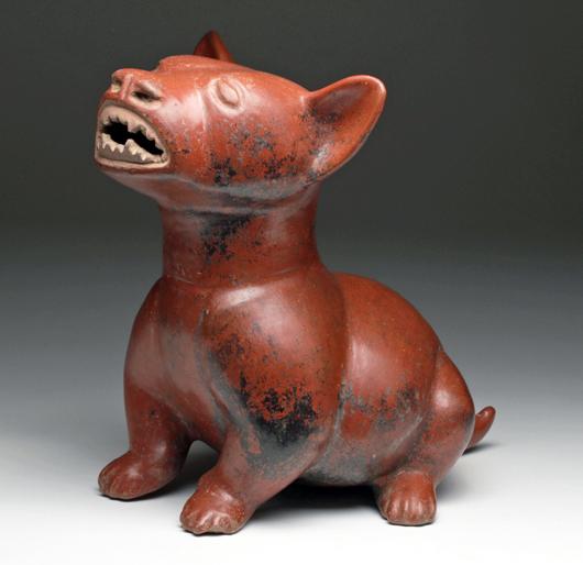 Pre-Columbian Colima dog, Mexico, circa 300 BC/300 AD.  Est. $11,000-$15,000. Artemis Gallery image