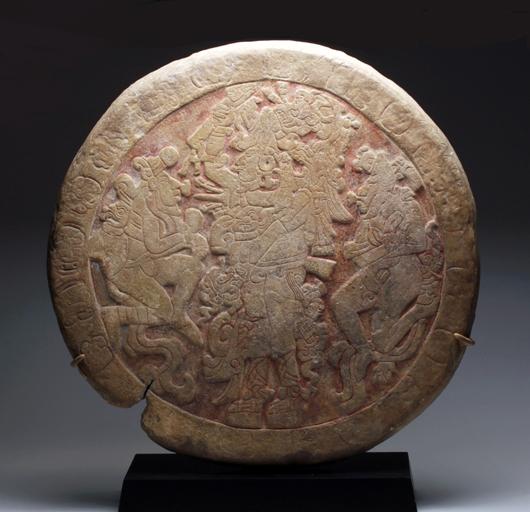 Mayan ball court marker, Mexico, circa 550 to 850 AD, ex-Denver Art Museum. Est. $125,000-$150,000. Artemis Gallery image