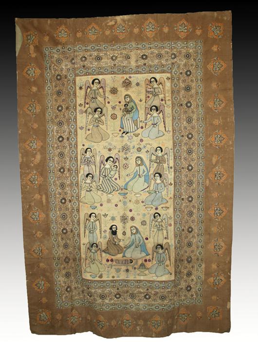 Huge Coptic textile, Resht embroidery, Middle East, circa 18th/19th century. Est. $6,000-$9,000. Artemis Gallery image