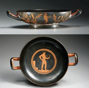 Greek Attic red-figure kylix, athletes, ex-Charles Ede,Athens, circa 430-420 BC. Est. $15,000-$20,000. Artemis Gallery image