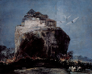 'City on a Rock,' long attributed to Goya (Spanish, 1746-1828) is now thought to have been painted by the 19th century forger Eugenic Lucas. Elements of the painting appear to have been copied from autographed works by Goya. Image courtesy of Wikimedia Commons.